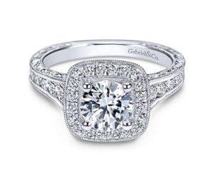 Gabriel Elaine 14k White Gold Round Halo Engagement RingER8794W44JJ 11 300x243 - Vintage 14k White Gold Round Halo Diamond Engagement Ring