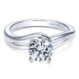 Gabriel Elise 14k White Gold Round Bypass Engagement RingER6680W4JJJ 11 - 14k White Gold Round Bypass Engagement Ring