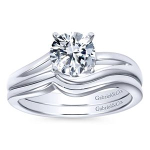 Gabriel Elise 14k White Gold Round Bypass Engagement RingER6680W4JJJ 41 - 14k White Gold Round Bypass Engagement Ring