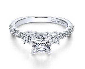 Gabriel Emerson 14k White Gold Princess Cut 3 Stones Engagement RingER4020W44JJ 11 300x243 - 14k White Gold Princess Cut 3 Stones Diamond Engagement Ring