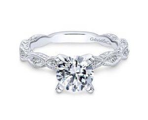 Gabriel Sadie 14k White Gold Round Straight Engagement RingER4122W44JJ 11 300x243 - Vintage 14k White Gold Round Straight Diamond Engagement Ring