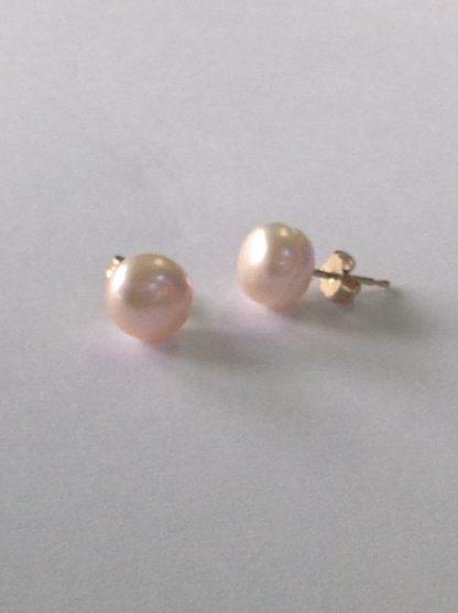 hello 416x557 - 14k Yellow Gold Pearl Stud Earrings 8mm