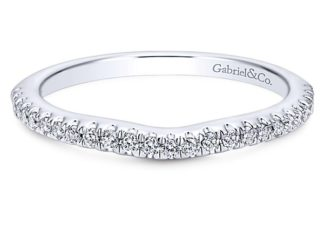 Gabriel 14k White Gold Contemporary Curved Wedding BandWB8152W44JJ 11 324x243 - 14k White Gold Round Curved Diamond