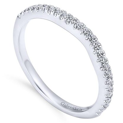 Gabriel 14k White Gold Contemporary Curved Wedding BandWB8152W44JJ 31 416x416 - 14k White Gold Round Curved Diamond