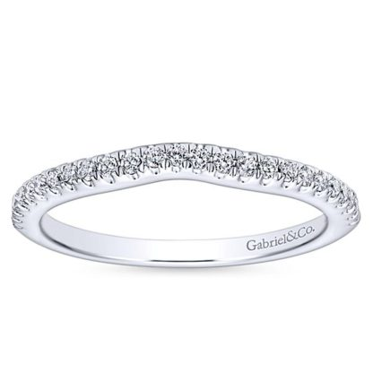 Gabriel 14k White Gold Contemporary Curved Wedding BandWB8152W44JJ 51 416x416 - 14k White Gold Round Curved Diamond