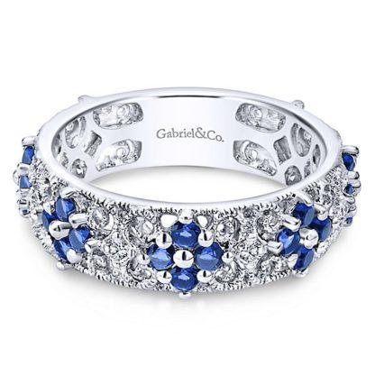 Gabriel 14k White Gold Stackable Ladies RingLR4850W45SA 11 416x416 - 14k White Gold Stackable Diamond A Quality Sapphire Ladies' Ring
