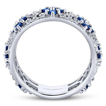 Gabriel 14k White Gold Stackable Ladies RingLR4850W45SA 21 416x416 - 14k White Gold Stackable Diamond A Quality Sapphire Ladies' Ring