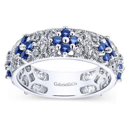 Gabriel 14k White Gold Stackable Ladies RingLR4850W45SA 41 416x416 - 14k White Gold Stackable Diamond A Quality Sapphire Ladies' Ring