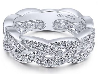 Gabriel 14k White Gold Stackable Ladies RingLR5673W45JJ 11 324x243 - 14k White Gold Stackable Diamond Ladies' Ring