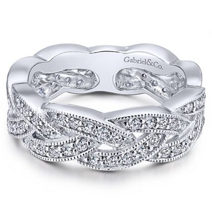 Gabriel 14k White Gold Stackable Ladies RingLR5673W45JJ 11 416x416 - 14k White Gold Stackable Diamond Ladies' Ring