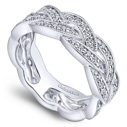 Gabriel 14k White Gold Stackable Ladies RingLR5673W45JJ 31 416x416 - 14k White Gold Stackable Diamond Ladies' Ring