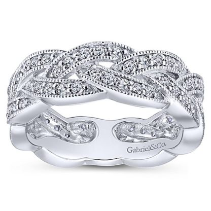 Gabriel 14k White Gold Stackable Ladies RingLR5673W45JJ 41 416x416 - 14k White Gold Stackable Diamond Ladies' Ring