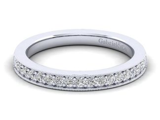 Gabriel 14k White Gold Victorian Curved Wedding BandWB3858W44JJ 11 324x243 - Vintage 14k White Gold Round Curved Diamond Wedding Band