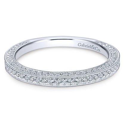 Gabriel 14k White Gold Victorian Straight Wedding BandWB7256W44JJ 11 416x416 - Vintage 14k White Gold Round Straight Diamond