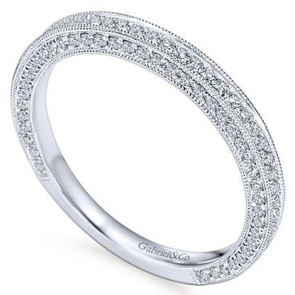 Gabriel 14k White Gold Victorian Straight Wedding BandWB7256W44JJ 31 416x416 - Vintage 14k White Gold Round Straight Diamond