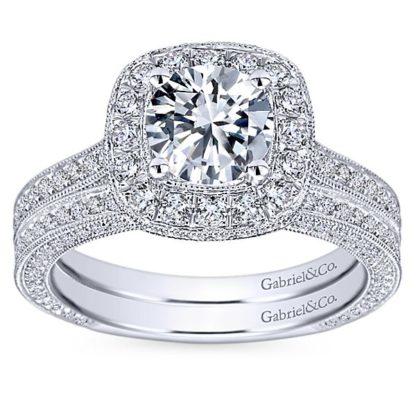 Gabriel 14k White Gold Victorian Straight Wedding BandWB7256W44JJ 41 416x416 - Vintage 14k White Gold Round Straight Diamond