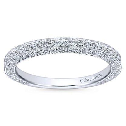 Gabriel 14k White Gold Victorian Straight Wedding BandWB7256W44JJ 51 416x416 - Vintage 14k White Gold Round Straight Diamond