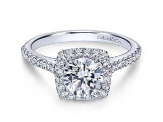 Gabriel Lyla 14k White Gold Round Halo Engagement RingER8152W44JJ 11 324x243 - 14k White Gold Round Curved Diamond