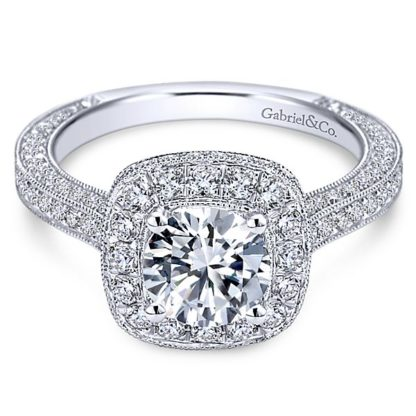 Gabriel Mariah 14k White Gold Round Halo Engagement RingER7256W44JJ 11 416x416 - Vintage 14k White Gold Round Halo Diamond