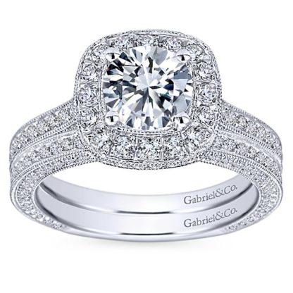 Gabriel Mariah 14k White Gold Round Halo Engagement RingER7256W44JJ 41 416x416 - Vintage 14k White Gold Round Halo Diamond