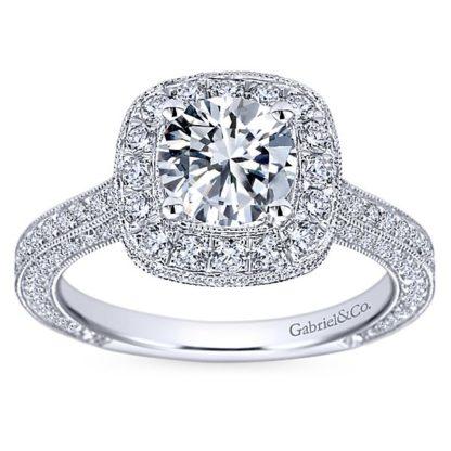 Gabriel Mariah 14k White Gold Round Halo Engagement RingER7256W44JJ 51 416x416 - Vintage 14k White Gold Round Halo Diamond