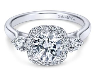 Gabriel Martine 14k White Gold Round 3 Stones Halo Engagement RingER7510W44JJ 11 324x243 - 14k White Gold Round 3 Stones Halo Diamond