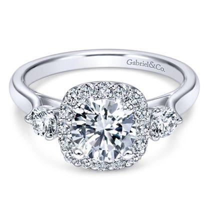 Gabriel Martine 14k White Gold Round 3 Stones Halo Engagement RingER7510W44JJ 11 416x416 - 14k White Gold Round 3 Stones Halo Diamond