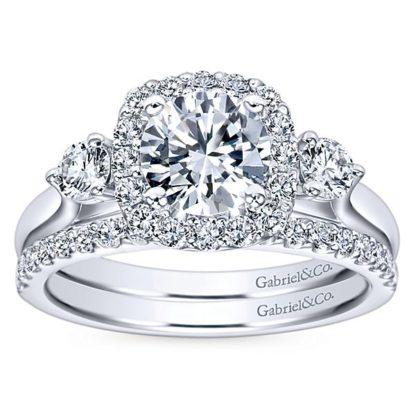 Gabriel Martine 14k White Gold Round 3 Stones Halo Engagement RingER7510W44JJ 41 416x416 - 14k White Gold Round 3 Stones Halo Diamond