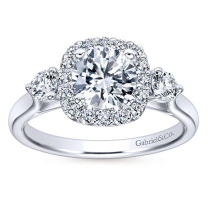 Gabriel Martine 14k White Gold Round 3 Stones Halo Engagement RingER7510W44JJ 51 416x416 - 14k White Gold Round 3 Stones Halo Diamond