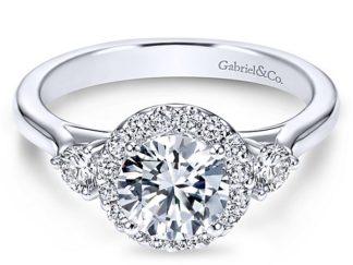 Gabriel Noelle 14k White Gold Round 3 Stones Halo Engagement RingER7482W44JJ 11 324x243 - 14k White Gold Round 3 Stones Halo Diamond