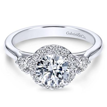Gabriel Noelle 14k White Gold Round 3 Stones Halo Engagement RingER7482W44JJ 11 416x416 - 14k White Gold Round 3 Stones Halo Diamond