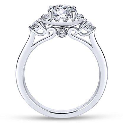 Gabriel Noelle 14k White Gold Round 3 Stones Halo Engagement RingER7482W44JJ 21 416x416 - 14k White Gold Round 3 Stones Halo Diamond